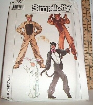 SIMPLICITY 1986 SEWING PATTERN 7648 SIZE SMALL ADULT HALLOWEEN CAT BEAR BUNNY