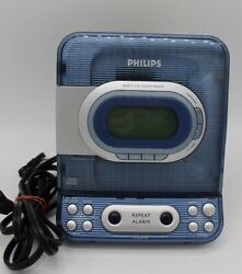 PHILIPS AJ3977 CD player Radio Alarm Clock Combo Unit Clear Blue TESTED
