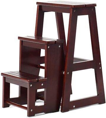 Escalera Silla de Madera Plegable Multifunción Escalera Banqueta Taburete