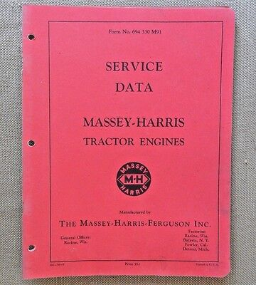 1954 Massey Harris 21 22 23 30 33 44 55 Tractor Engine Data Specification Manual