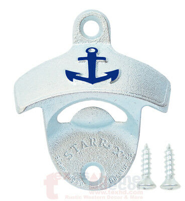 Cast Iron Navy Anchor (EMBOSSED Anchor Navy Beer Bottle Opener Starr X Wall Mount Cast Iron w/ SCREWS )