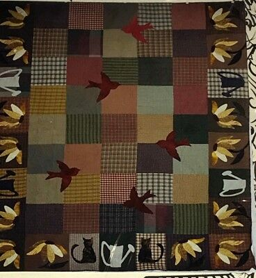 "Rural Rewards Patchwork Cats Daisy Birds Quilt Pattern by Sycamore Sky 74"" X 92"""