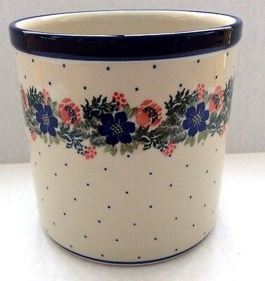 NEW C.A. POLISH POTTERY UTENSIL HOLDER JAR- Garden Party Floral
