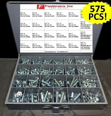 575 Piece Metric Bolt Kit Assortment M6-m12 Zinc Class 10.9 Hardened Grade