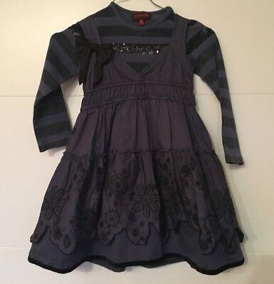 Designer Kleid Catimini Mädchen Osteroutfit 5 Jahre Gr 110 dunkelblau schwarz ()