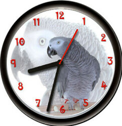 African Grey Gray Talking Exotic Pet Parrot Bird Aviary Gift Sign Wall Clock