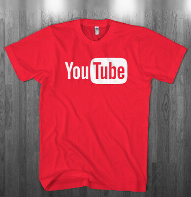 Youtube Logo T Shirt You Tube Broadcast Youtuber Red Shirts Adult Kids Sizes