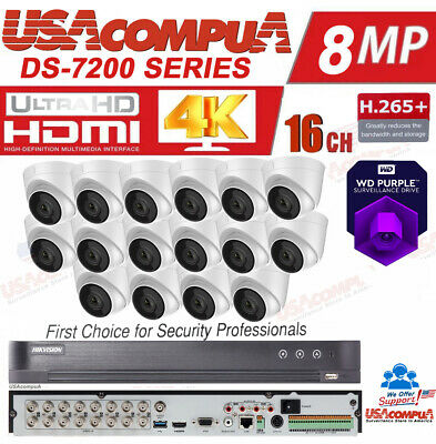 Hikvision CCTV Security System  KIT 4K-UHD Cameras 5MP Outdoor Dome PURPLE HDD  Dome Outdoor Security System