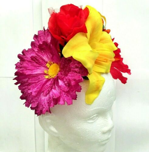 Bouquet FLOWER CROWN Headpiece Hairband Wreath Wedding multicolor Frida Peasant
