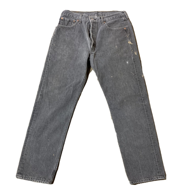 VTG Levis 501 Button Fly Fadded Gray Jeans Size 32 X 30 Made USA