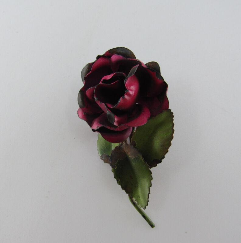 Edwardian Antique Single Red Rose Flower Brooch Cold Painted Enamel Metal