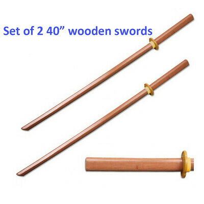 "Set of 2 40"" Wood Wooden Samurai Sword Bokken Practice Training Katana w/ Guard"
