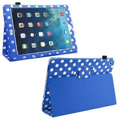Samrick Étui en cuir pour iPad Air Film de protection d'écran blanc/bleu
