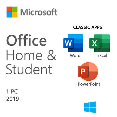 MS Office Home and Student 2019 Product Key Card for 1 PC Wins GENUINE 79G-05029