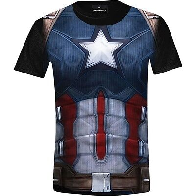 Captain America Civil War Marvel Costume Kostüm Superheld Männer Mens T-Shirt