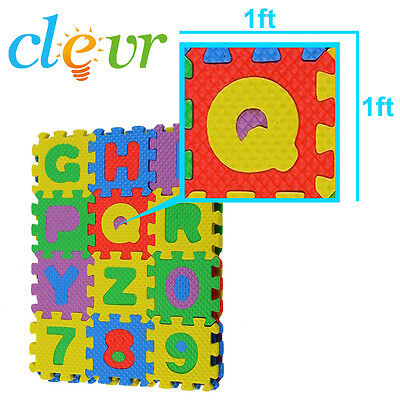 Clevr 36pcs 36SQFT Kids Interlocking EVA Foam Mat Alphabet Numbers 6 Color 1'x1'