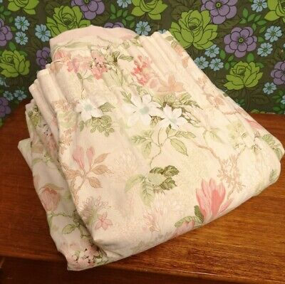 """Vintage Pair Lined Pink & Green Floral Curtains 80"""" x 50"""""""