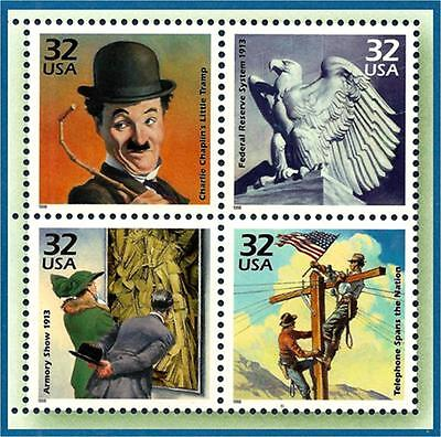 Scott 3183  32c MINT Block  Events to Remember from 1910s,  Multi-color  OG NH