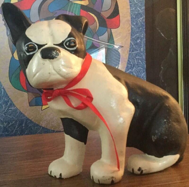 Antique Cast Iron Boston Terrier Dog Black White Door Stopper *1/2 Body*