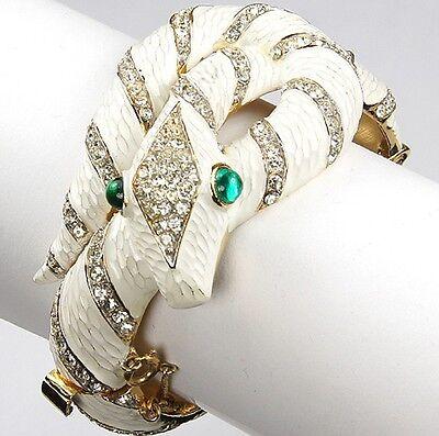 TRIFARI 'Alfred Philippe' 'Garden of Eden' White Enamel Diamante Snake Bracelet](Garden Of Eden Costume)
