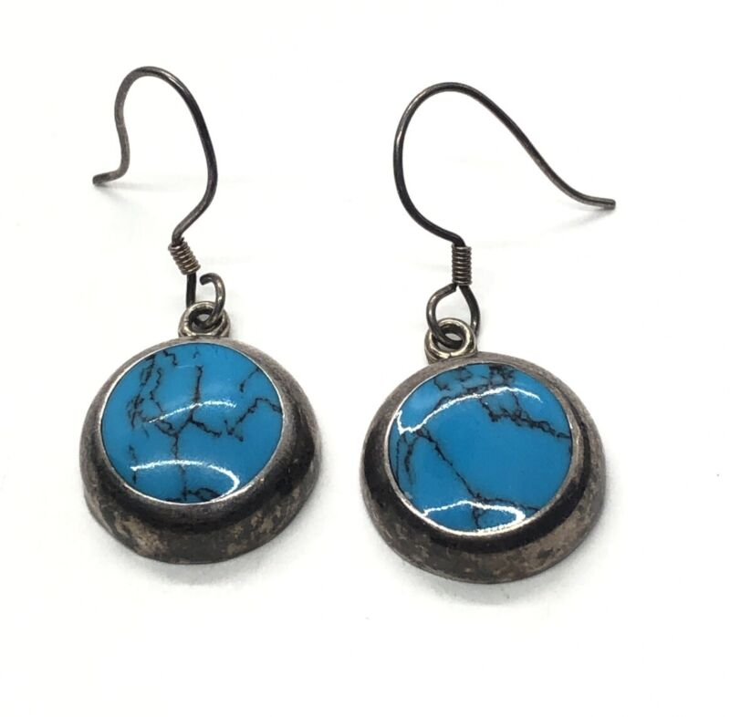 Vintage Sterling Silver Earrings 925 Faux Turquoise Circle Round