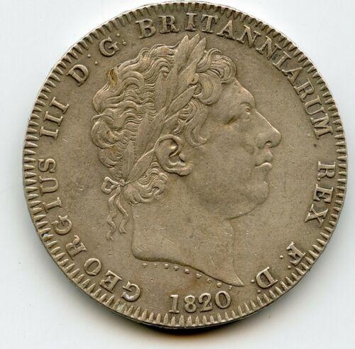 Great Britain CROWN 1820 LX GEORGE III BRITISH SILVER high grade !