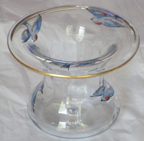 "Vintage Hand Painted Vase Blue Birds Clear Glass Small Pot Planter Gold Rim 3"""