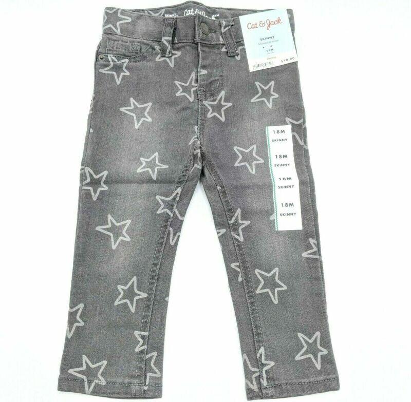 Cat & Jack Gray Girls 18 M Skinny Jeans Adjustable Waist Stretch  w White Stars