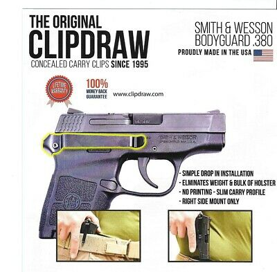 Clipdraw Belt Clip for Smith & Wesson Bodyguard 380 IWB OWB Black - Right Mount Smith And Wesson Clips