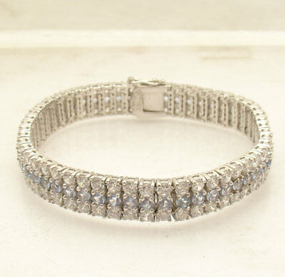 """7.50"""" Three Row Clear and Blue CZ Tennis Bracelet Real Solid Sterling Silver"""