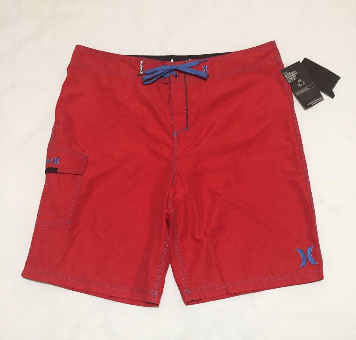 """Hurley Mens 38 One And Only 22"""" Swim Trunks Board Shorts Red"""