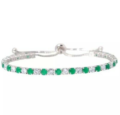Beautiful Emerald & Diamond Gemstone 4MM Cinch Bracelet 6-10 Inch NWOT