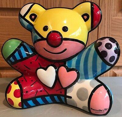 "ROMERO BRITTO Teddy Bear 10"" Ceramic Cookie Jar Sculpture Out-of-Production NIB!"
