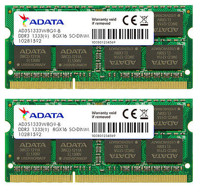 Cl9 Dual Channel (16GB AData DDR3 PC3-10666 1333MHz CL9 204-pin Dual Channel Laptop Memory 2x8GB)