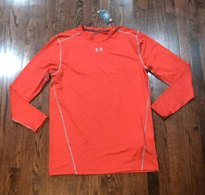 NWT$50 MENS UNDER ARMOUR COLD GEAR CREW NECK RED LS SHIRT (1265650) Under Armour Coldgear Crewneck