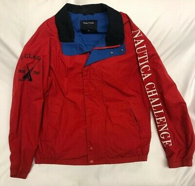 Vintage 90s Nautica Challenge J-Class Sailing Jacket Mens Size XL Red