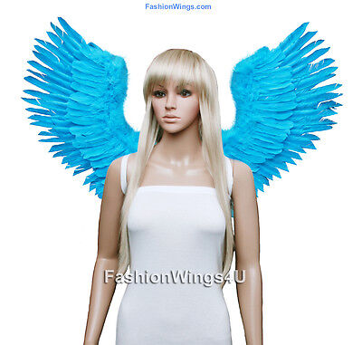 Large Open Swing V shape Costume Feather Angel Wings Black, White, Blue or Red](Large Black Feather Wings)