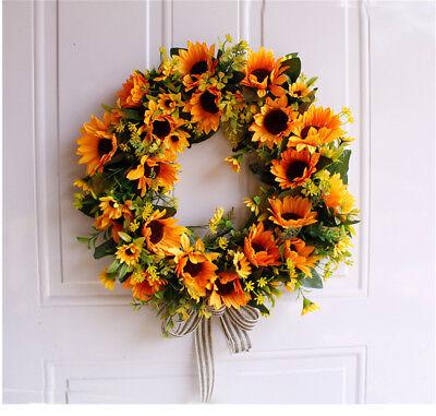 Artificial Sunflower Wreath Fake Flower Wreath Silk Yellow Sunflower Wall Decor
