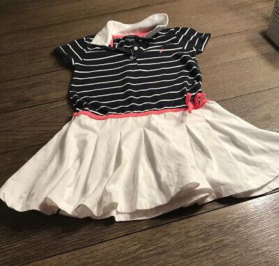 Nautica Girls Dress Size 5T Blue & White Stripes, White Pleated Skirt Bottom