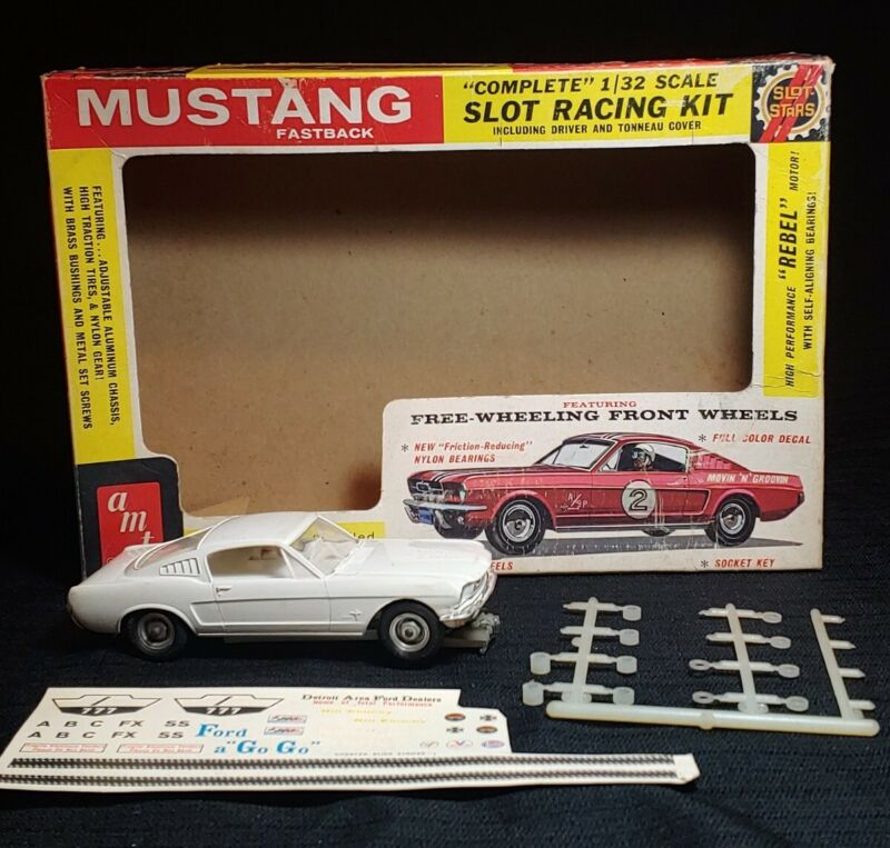 🚗 Vintage AMT Mustang Fastback SLOT CAR 1/32 Scale w Original Box Decals WORKS!