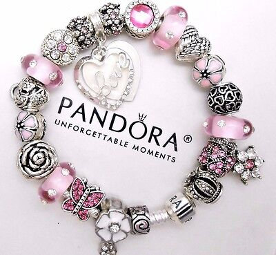 Authentic Pandora Silver Charm Bracelet With Pink Love Heart European Charms