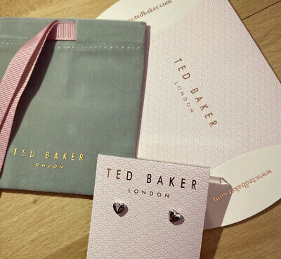 Ted Baker Silver Heart Earrings New In Unopened  Packet