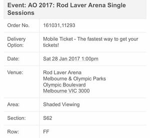 Australian open tickets January 28th 2017 Melbourne Enfield Burwood Area Preview