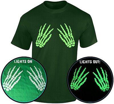 Skelett Hände Vorne Halloween Leuchten Im Dunklen Herren T-Shirt (S-3XL) (Halloween Skelett Shirt)