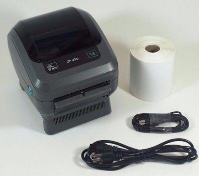 Zebra ZP450 USB Thermal Label Printer Barcode W/ Peeler & 250 Shipping Labels