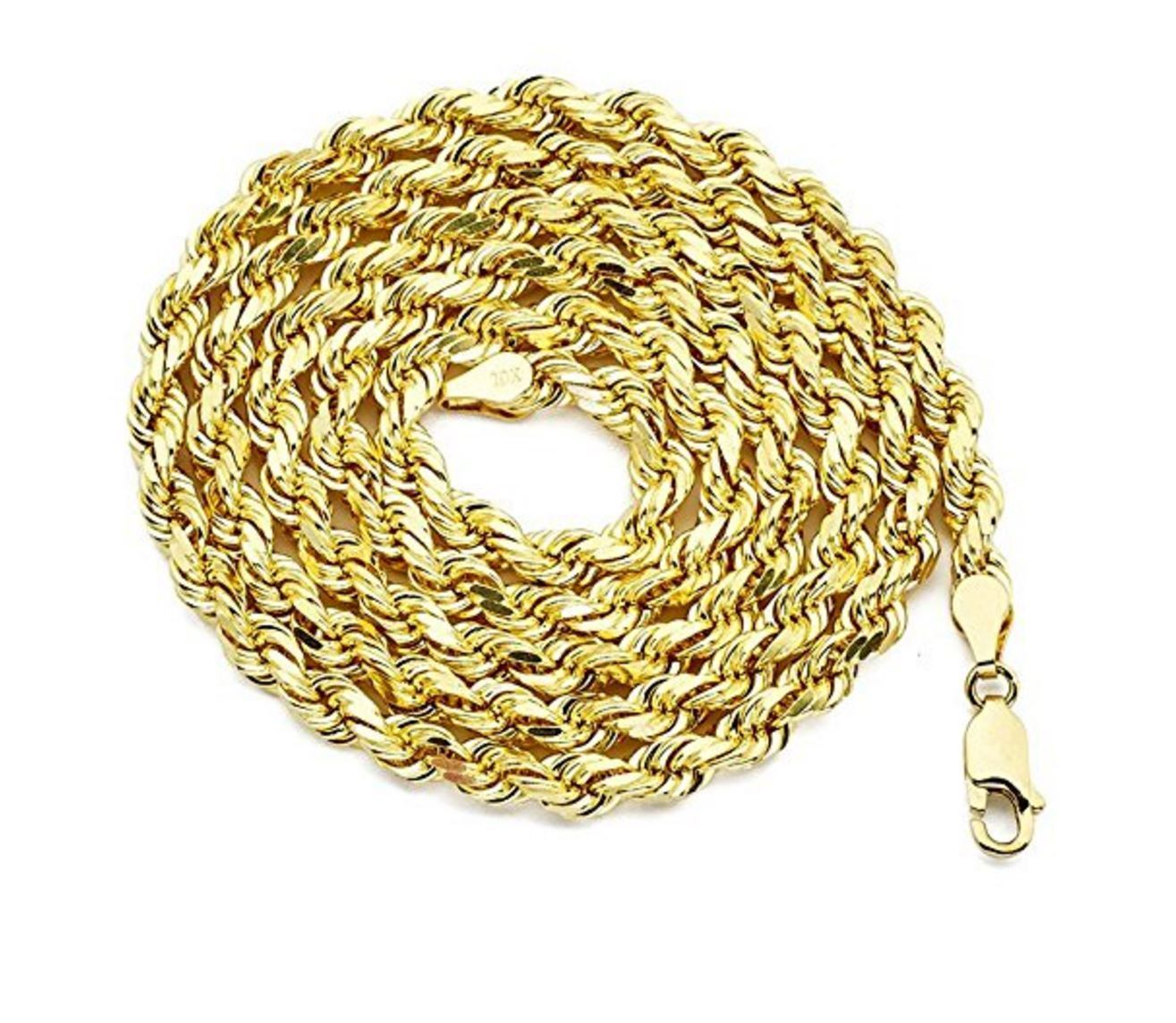 10K Yellow Gold 1.8mm – 8mm Men's Women's Hollow Diamond Cut Rope Chain Necklace Fine Jewelry