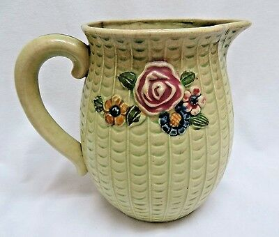 Vintage Japanese Hand Painted Pottery Water Pitcher w/ Relif #312