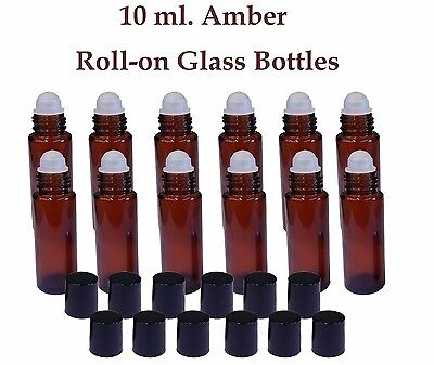 Amber Glass Roll On Roller Bottles 10 Ml For Essential Oils  Perfume Lot Set