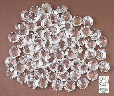 50x Glas Kristalle 16mm Octagon für Ketten Dekoration Lüster Kronleuchter Prisma