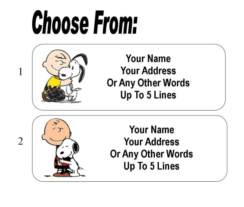 30 Charlie Brown / Snoopy Hug Personalized Address Labels